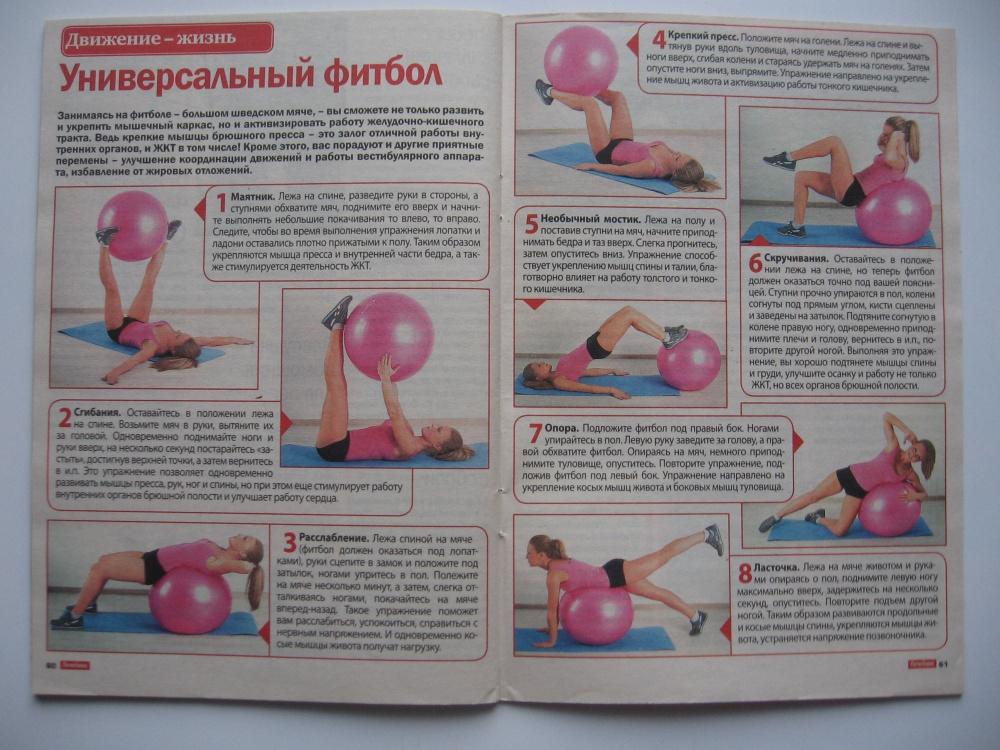 Упражнения для похудения на мяче в домашних условиях